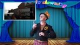 Petje the clown juggles on a rolla bolla